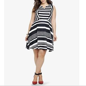 Torrid Black & White Striped Fit & Flare Dress, LG